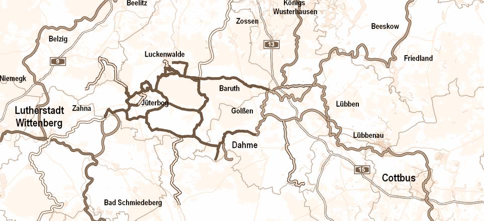 Karte der Radwege